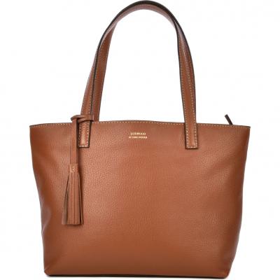 Camel leather EDEN top-zip shoulder bag