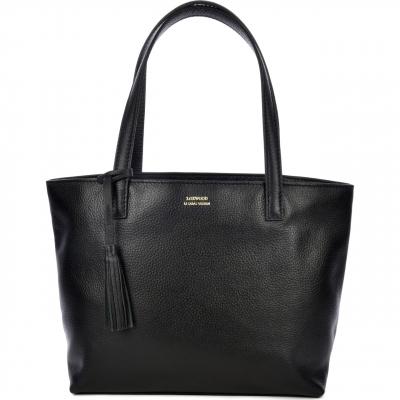 Black leather EDEN top-zip shoulder bag
