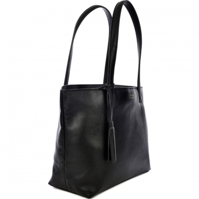 BLACK LEATHER EDEN HANDBAG
