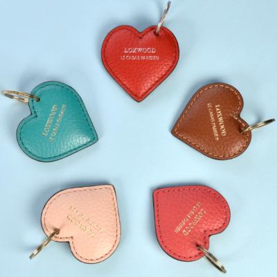 CAMEL LEATHER HEART-SHAPED KEY RING