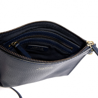 "NAVY LEATHER ""FLOPPY"" CLUTCH"