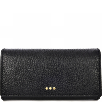 Black leather wallet with a flap