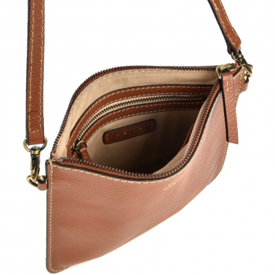 "CAMEL LEATHER ""FLOPPY"" CLUTCH"