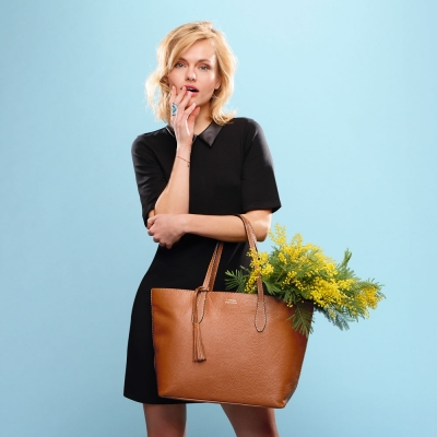 SAC SHOPPER CUIR CAMEL
