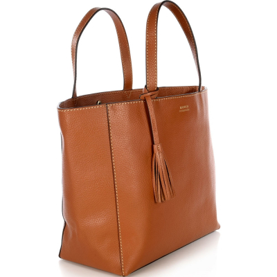 THE LARGE CAMEL LEATHER PARISIAN TOTE BAG