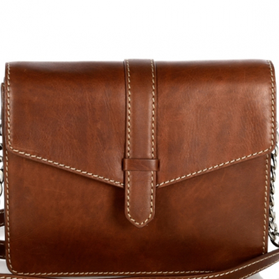 Small chesnut saddle leather CELESTE shoulder bag