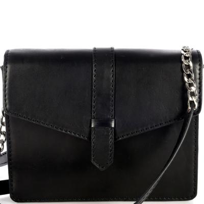 Small black saddle leather CELESTE shoulder bag