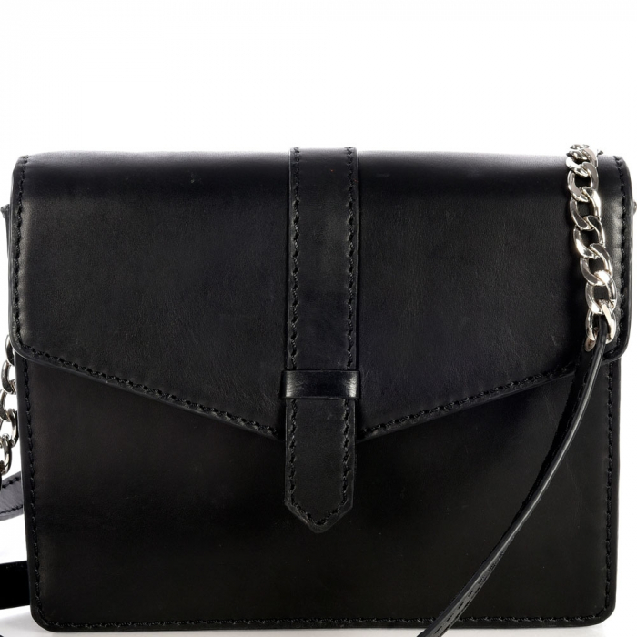 Small black saddle leather CELESTE shoulder bag