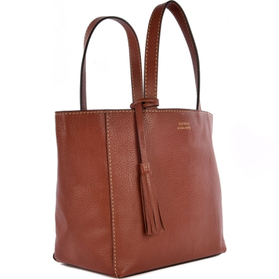 Small rust leather PARISIAN tote bag