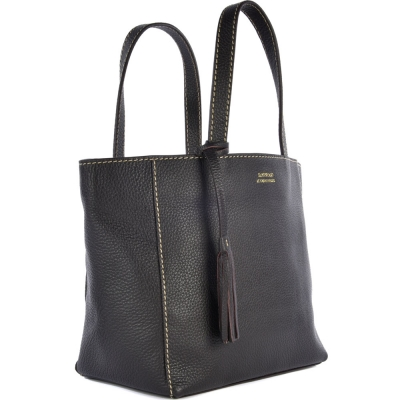 Small coffee leather PARISIAN tote bag