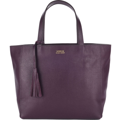 Medium plum leather PARISIAN tote bag