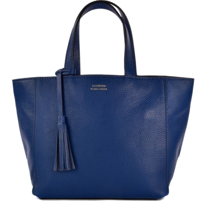 Small indigo leather PARISIAN tote bag