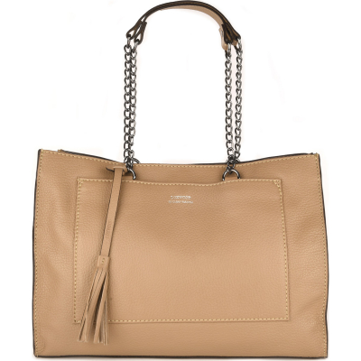 Leather shoulder bag CANCAN with metal chains