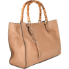 Leather VICTORIA handbag with bamboo top handles