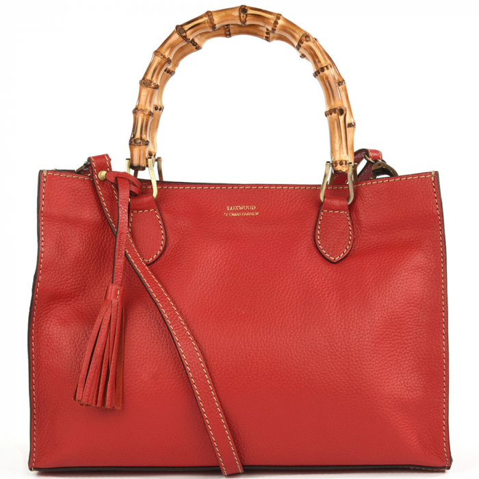 Leather VICTORIA handbag with bamboo top handles