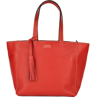 Small top-zip leather tote bag
