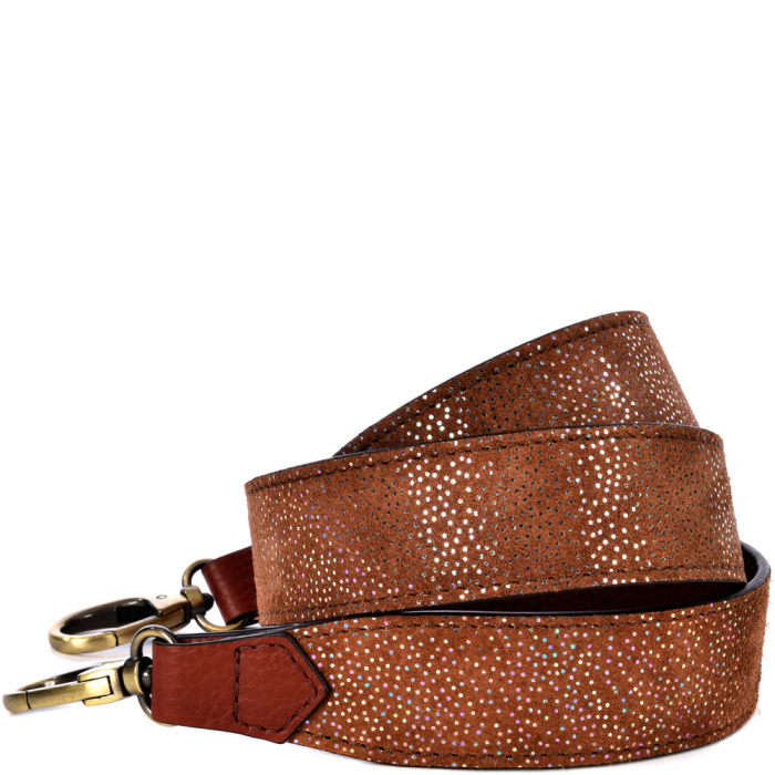 Snake print leather shoulder strap
