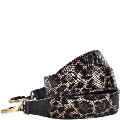 Leopard print leather shoulder strap