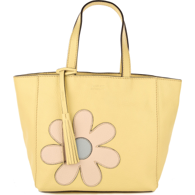 Small leather PARISIAN tote bag FLOWER POWER