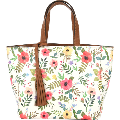Small PARISIAN tote bag Floral print leather