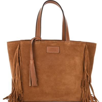 Small velvet leather FRINGE PARISIAN tote bag