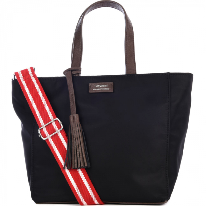 Small top-zip Nylon tote bag with shoulder strap