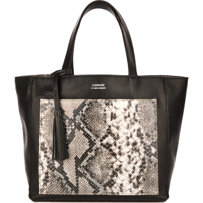 Medium leather PARISIAN tote bag with python pocket