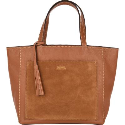 Medium leather PARISIAN tote bag with suede pocket