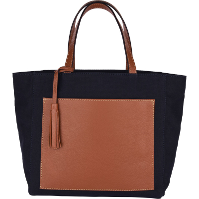 Canvas and leather PARISIAN tote bag with pocket