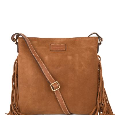Large FRINGED FLOPPY clutch Velvet Leather