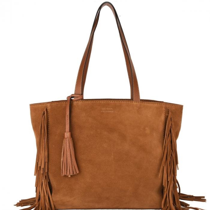 MONTMARTRE - Fringe Tote Bag Velvet Leather