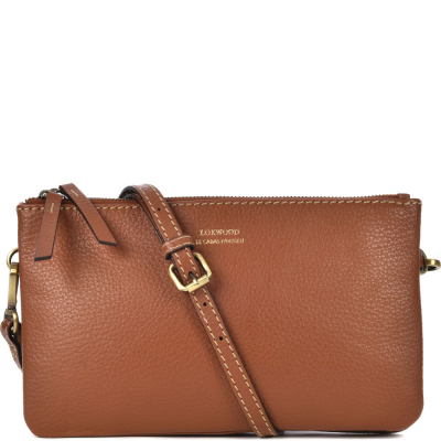 Small leather DOUBLE ZIP CROSSOVER bag