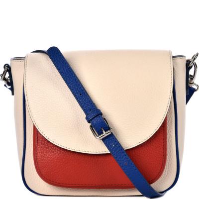 Tricolor leather cross-body bag MATHILDE