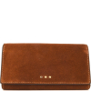 Suede leather wallet with flap