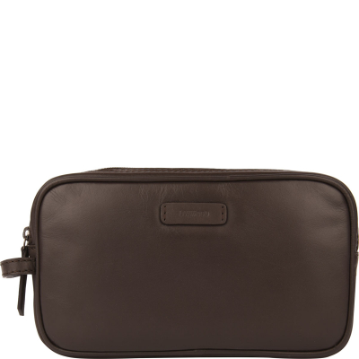 Double-zip leather toiletries bag