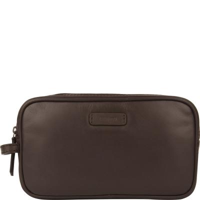 Double-zip leather toiletries bag