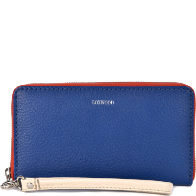 Tricolor leather zip around wallet