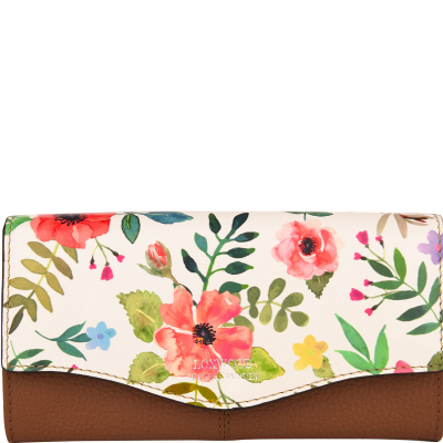 Leather floral print wallet with a flap