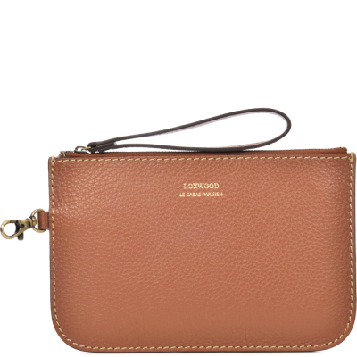 Zip-up leather MOUSQUETON clutch