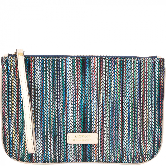 Striped zip-up leather clutch