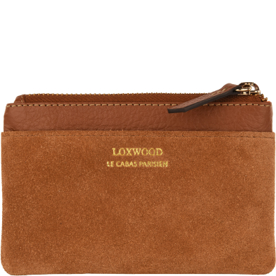 Small grained and suede leather zip purse