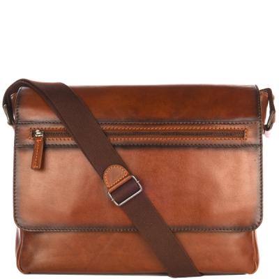 Leather flap MESSENGER bag
