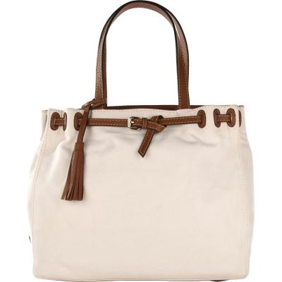 Canvas bag NANOU with leather details