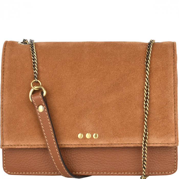 Leather and suede MADELEINE bag with metal chain