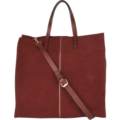 CHERCHE MIDI - Zipped suede leather tote bag with edging