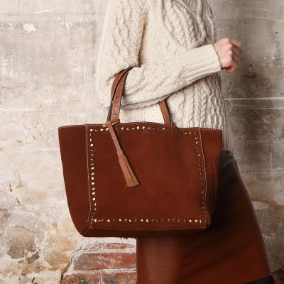 Medium suede leather PARISIAN tote bag