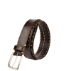 Men's Belt - Contrasted saddle-stitched cracked leather