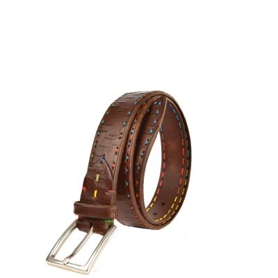 Men's Belt - Multicolored saddle-stitched cracked leather