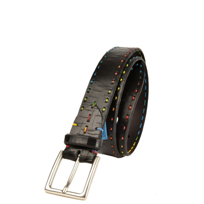 Men's Belt - Multicolored saddle-stitched cracked leather
