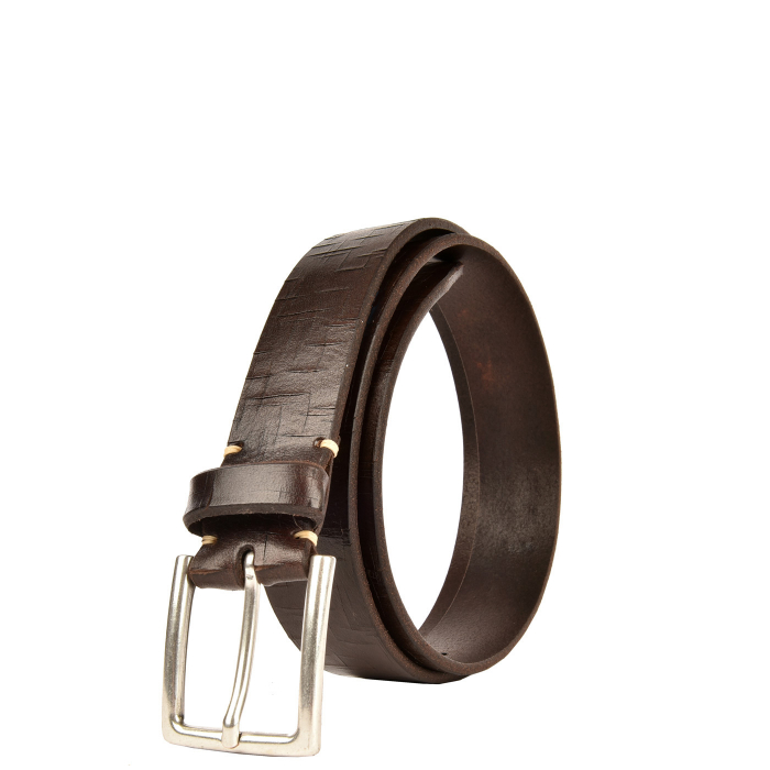 Men's Belt - Cracked saddle stitched leather and pattern on the back